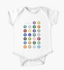 Gemstones Alphabet Shirt One Piece - Short Sleeve