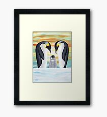 Penguin Family with Baby Penguin Framed Print
