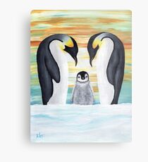 Penguin Family with Baby Penguin Metal Print