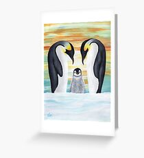Penguin Family with Baby Penguin Greeting Card