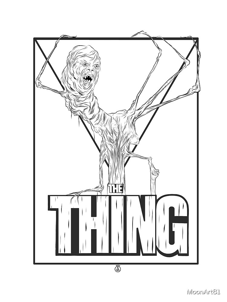 The thing black on white  by MoonArt81