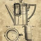 Antique coffee pot blueprint patent illustration kitchen art by Glimmersmith