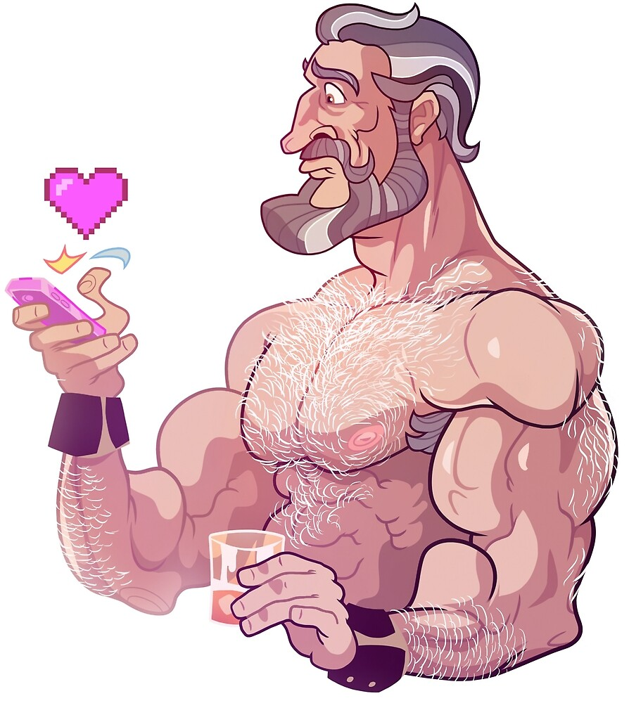 Muscle Man with cellphone by vincettiart