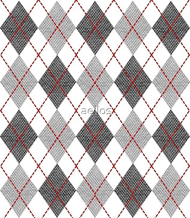 Gray, white and red argyle by aeilos