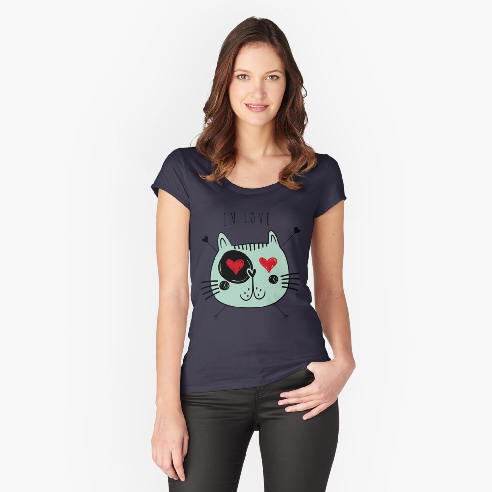 Cat in love Women's Fitted Scoop T-Shirt Front