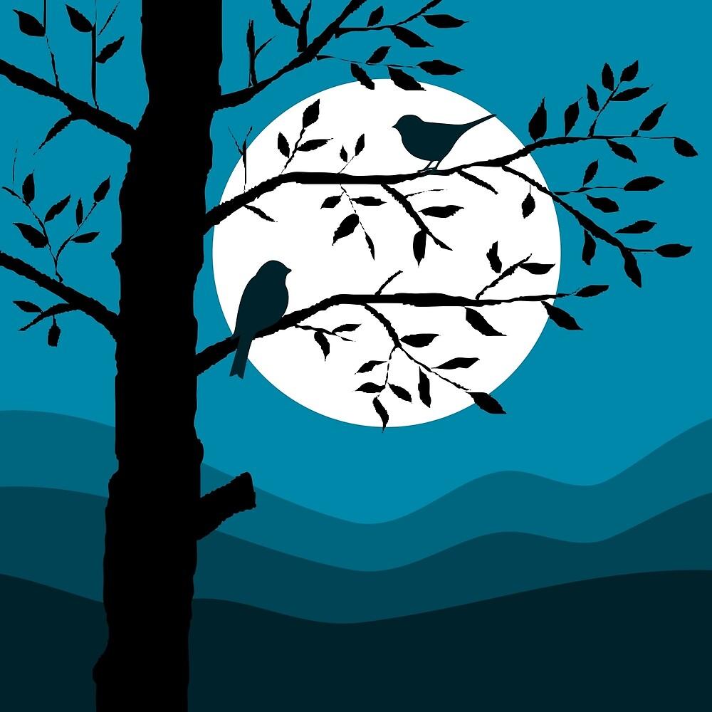 Minimalist Birds on Tree at Night by ColorsOfAutumn