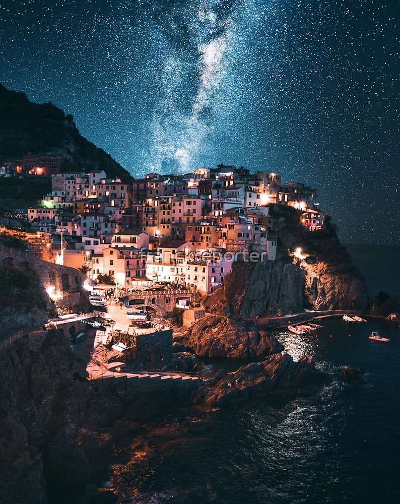 manarola at night with stars by franckreporter