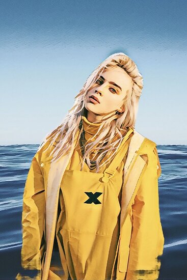 Billie Eilish Ocean Eyes Painting by QuichoDesigns