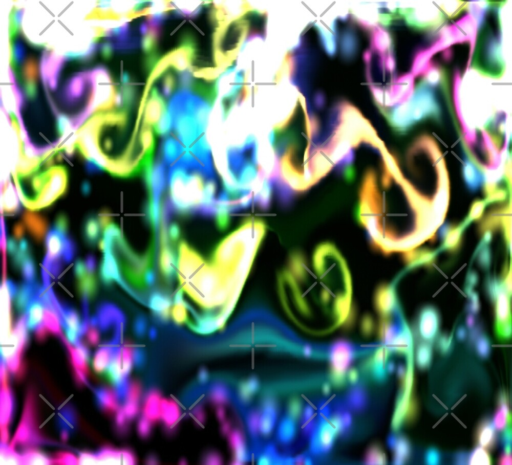 Abstract psychedelic colouful  black moss swirls by TJ-Allen