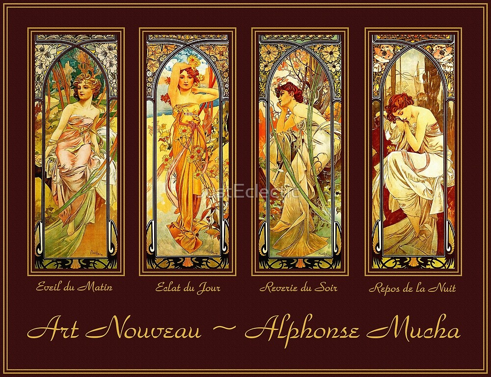 Vintage Art Nouveau - Alphonse Mucha Times of the Day by JustEclectic