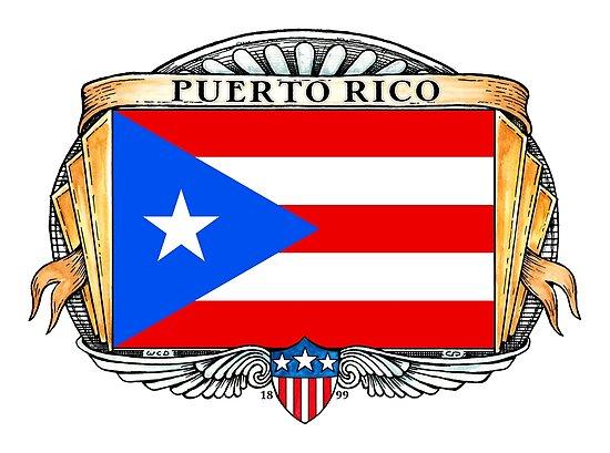 Puerto Rico Art Deco Design with Flag