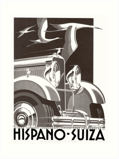 Vintage Hispano-Suiza Automotive Poster by Jazzy Gerber