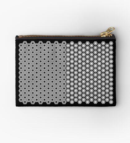 Hexagonal Turtle Pattern Black & White 001 Zipper Pouch