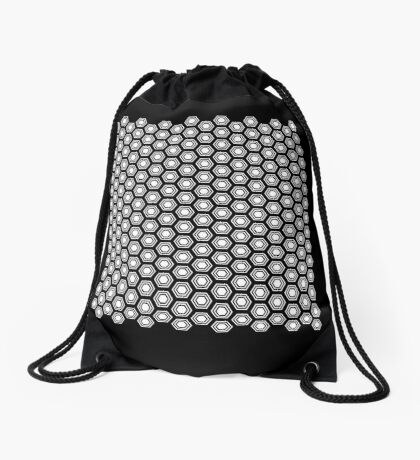Hexagonal Turtle Pattern Black & White 001 Drawstring Bag