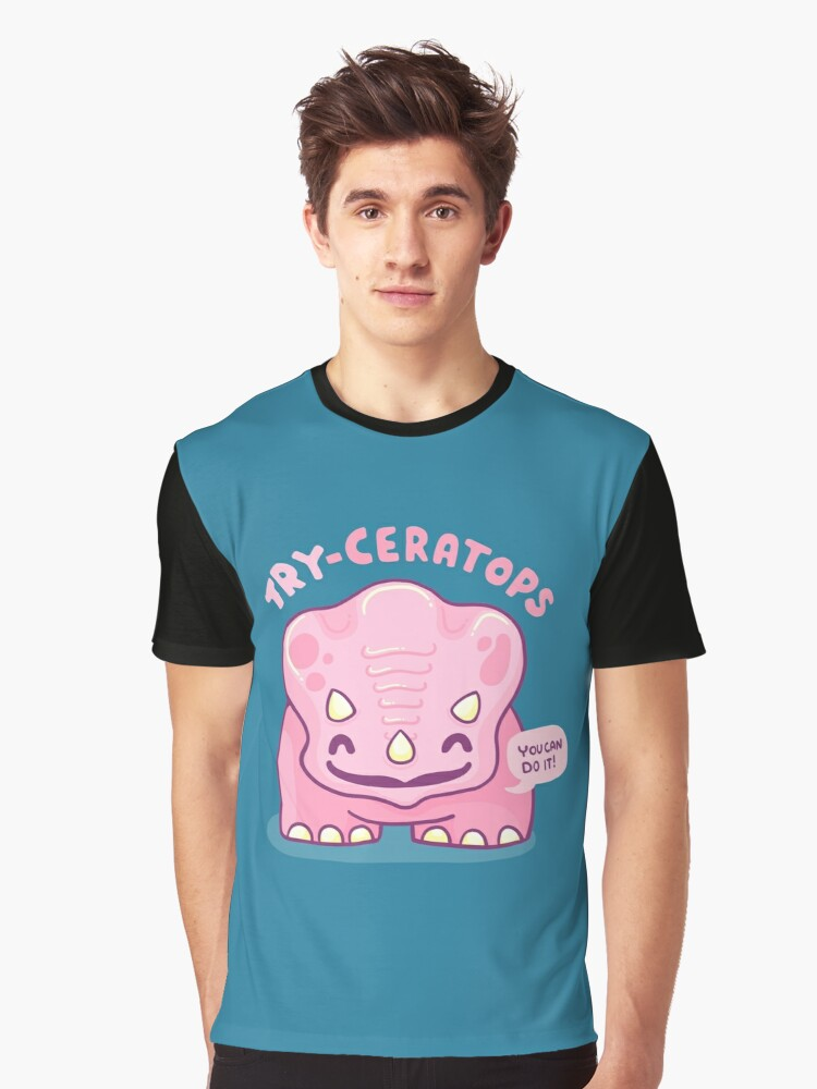 TRY-Ceratops (cute dinosaur pun) Graphic T-Shirt Front
