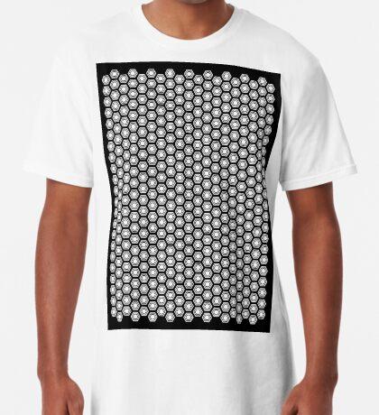 Hexagonal Turtle Pattern Black & White 001 Long T-Shirt