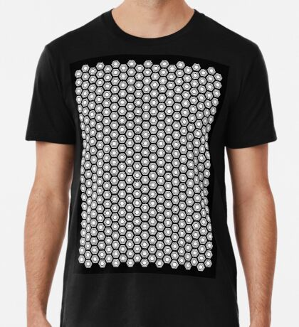 Hexagonal Turtle Pattern Black & White 001 Premium T-Shirt