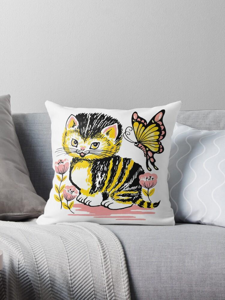 Little Retro Kitten and Butterfly Cuteness by industridoll
