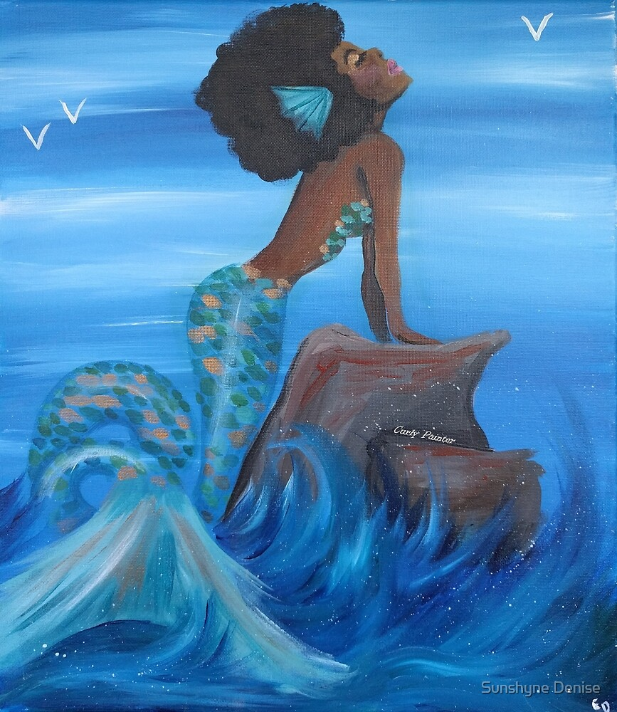 Afro Mermaid by CurlyPainter