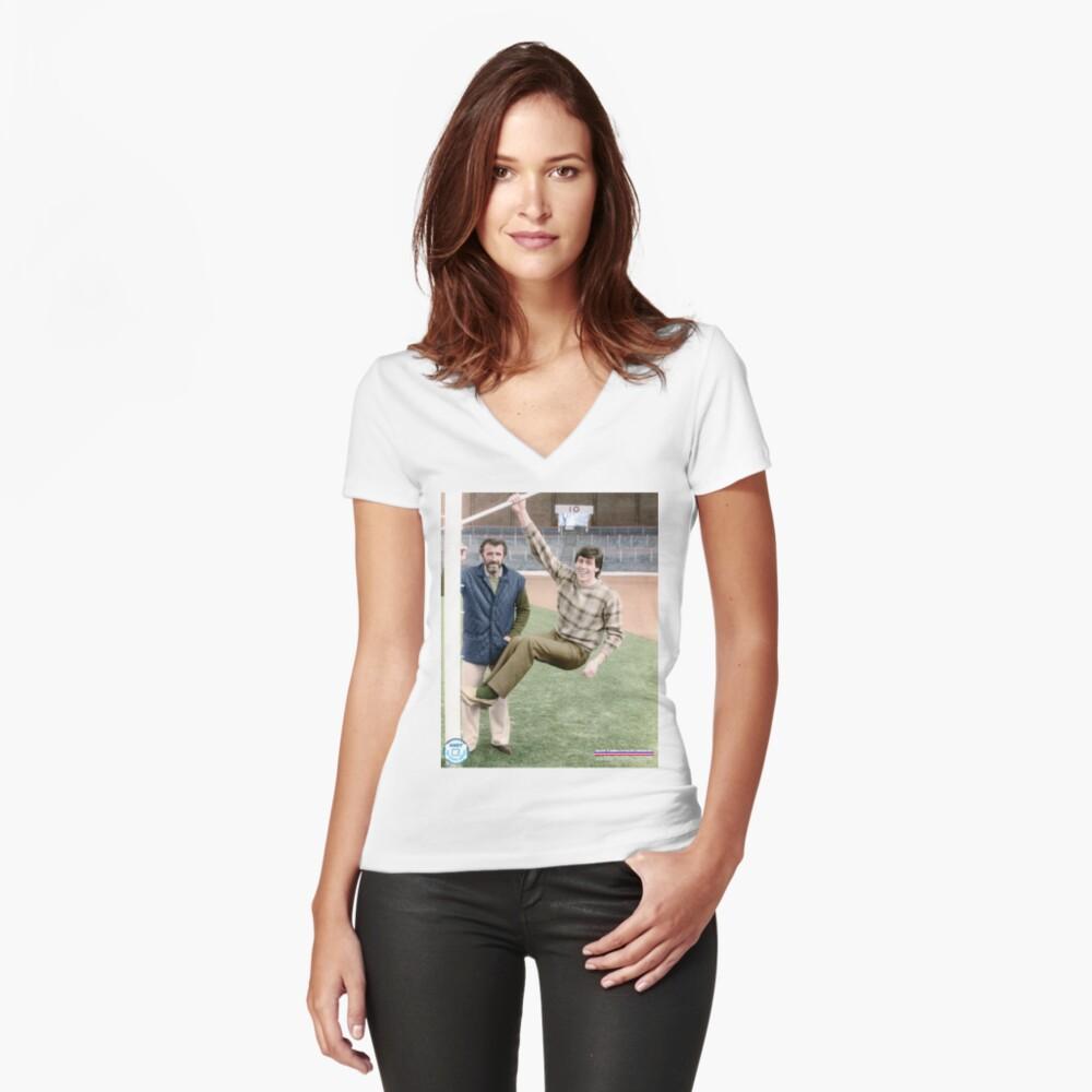Danny McGrain Pat Bonnar in colour Women's Fitted V-Neck T-Shirt Front