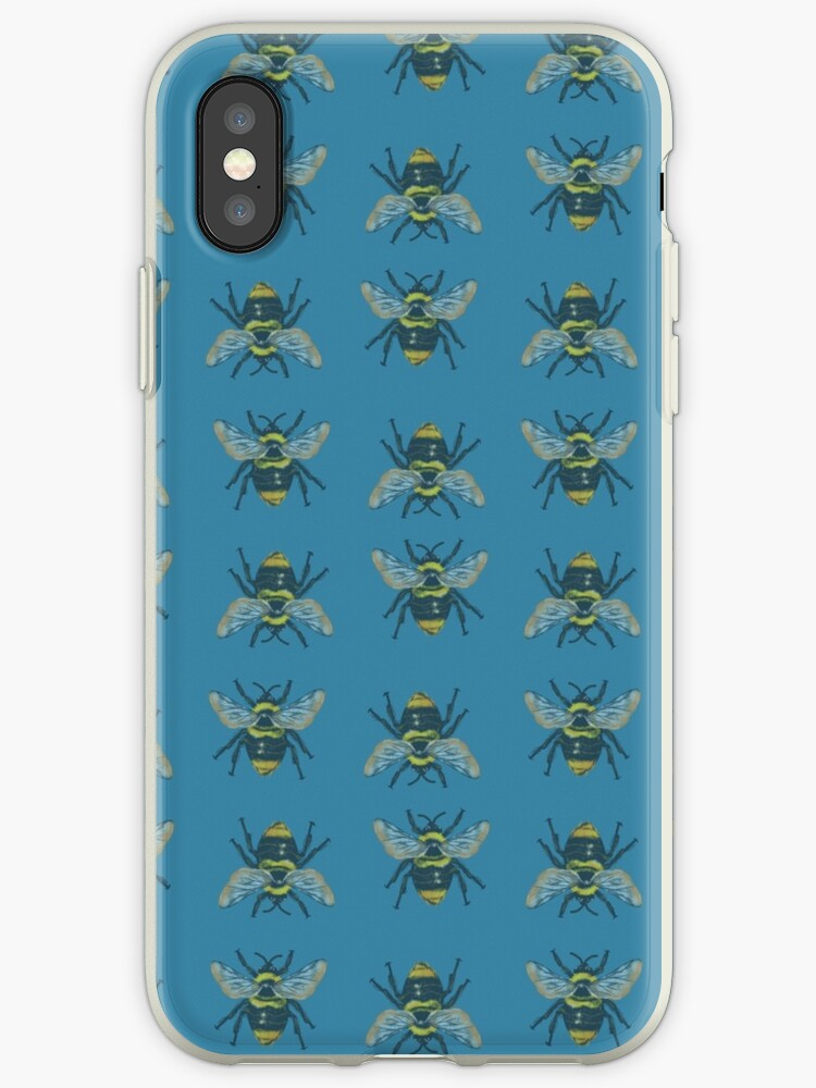 Teal Bumblebee Repeat Pattern by paigeedickey