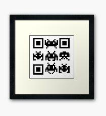 QR Code Space Invader Framed Print