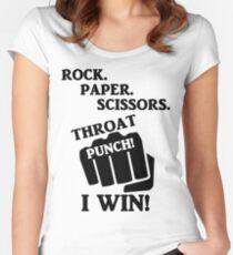 Rock, Paper, Scissors, Throat Punch! I win! Women's Fitted Scoop T-Shirt
