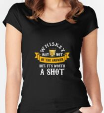 whiskey may not be the answer | Whiskey Gifts | Whiskey Shirt | Scotch Drinker | Funny Cigar Gift | Cigar Gift For Men | Cigar Gift for Dad | Cigar Shirt | Fathers Day Gift | Whiskey Lovers Gift Women's Fitted Scoop T-Shirt