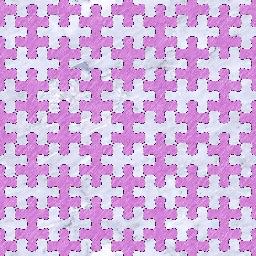 PUZZLE1 WHITE MARBLE & PURPLE COLORED PENCIL by johnhunternance