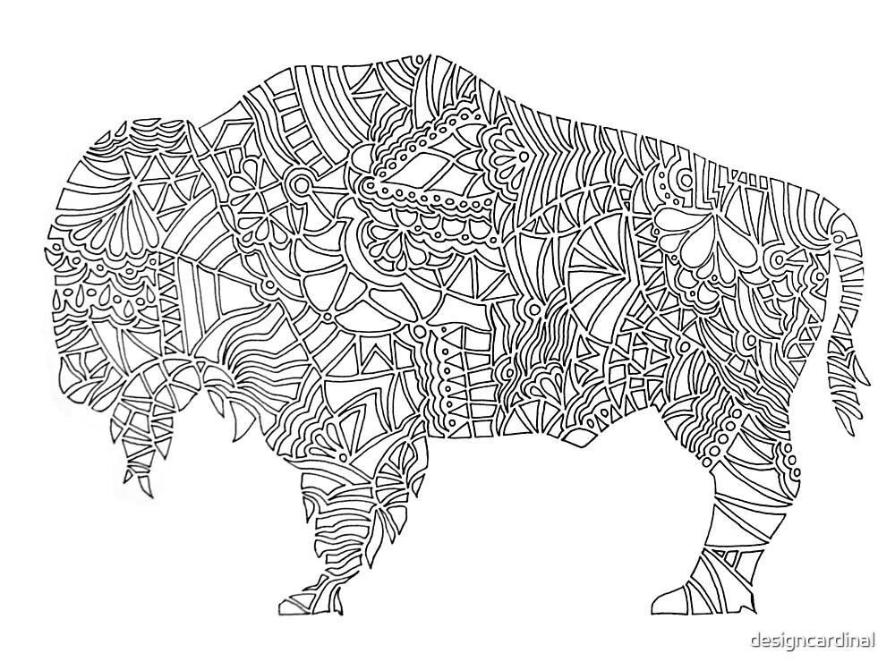 Buffalo Geometric Pattern on White by designcardinal