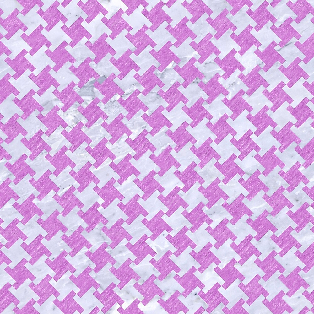 HOUNDSTOOTH2 WHITE MARBLE & PURPLE COLORED PENCIL by johnhunternance