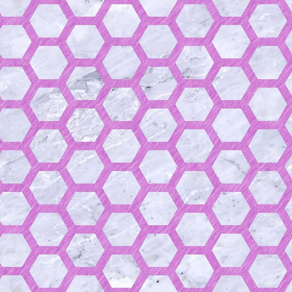 HEXAGON2 WHITE MARBLE & PURPLE COLORED PENCIL (R) by johnhunternance