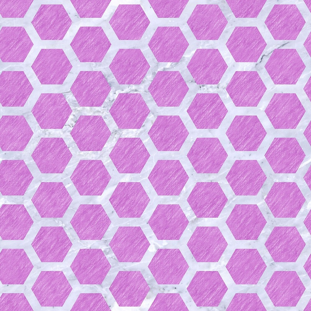 HEXAGON2 WHITE MARBLE & PURPLE COLORED PENCIL by johnhunternance