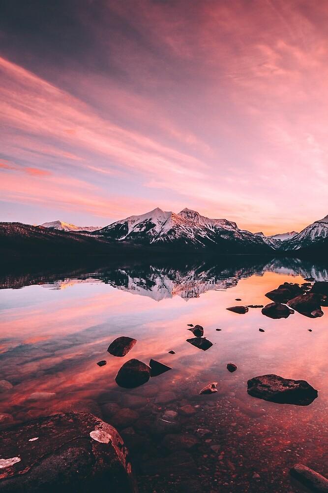 Sunrise at Lake Mcdonald by michaellangf