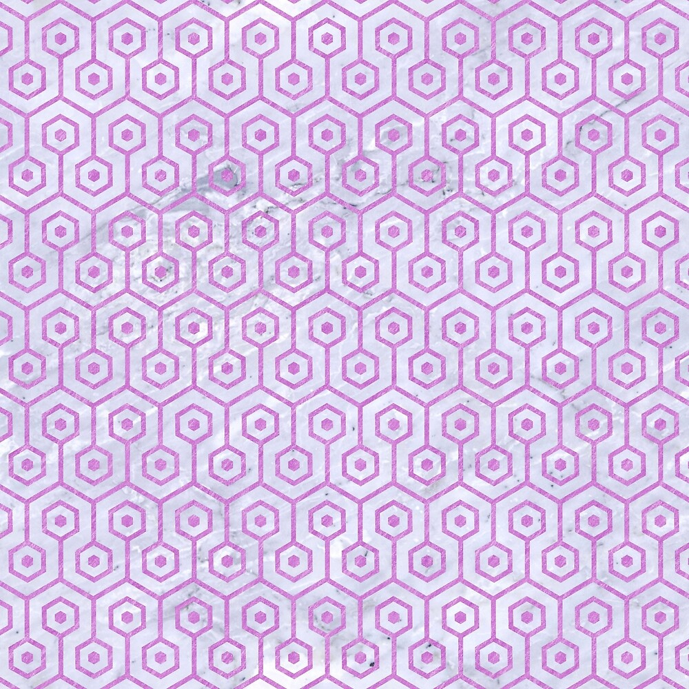 HEXAGON1 WHITE MARBLE & PURPLE COLORED PENCIL (R) by johnhunternance