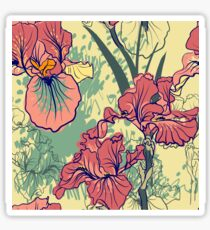 SeaSeamless pattern with decorative  iris flower in retro colors. mless pattern with decorative  iris flower in retro colors.  Sticker
