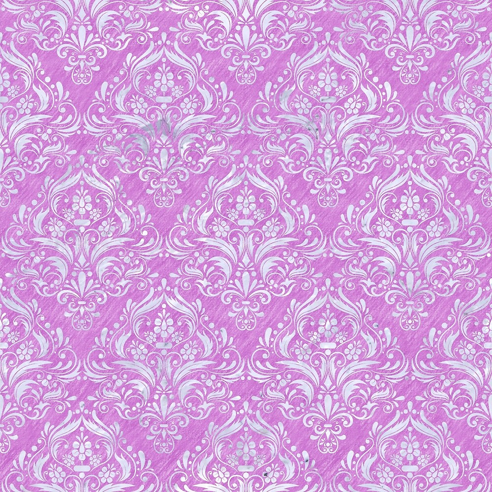 DAMASK1 WHITE MARBLE & PURPLE COLORED PENCIL by johnhunternance