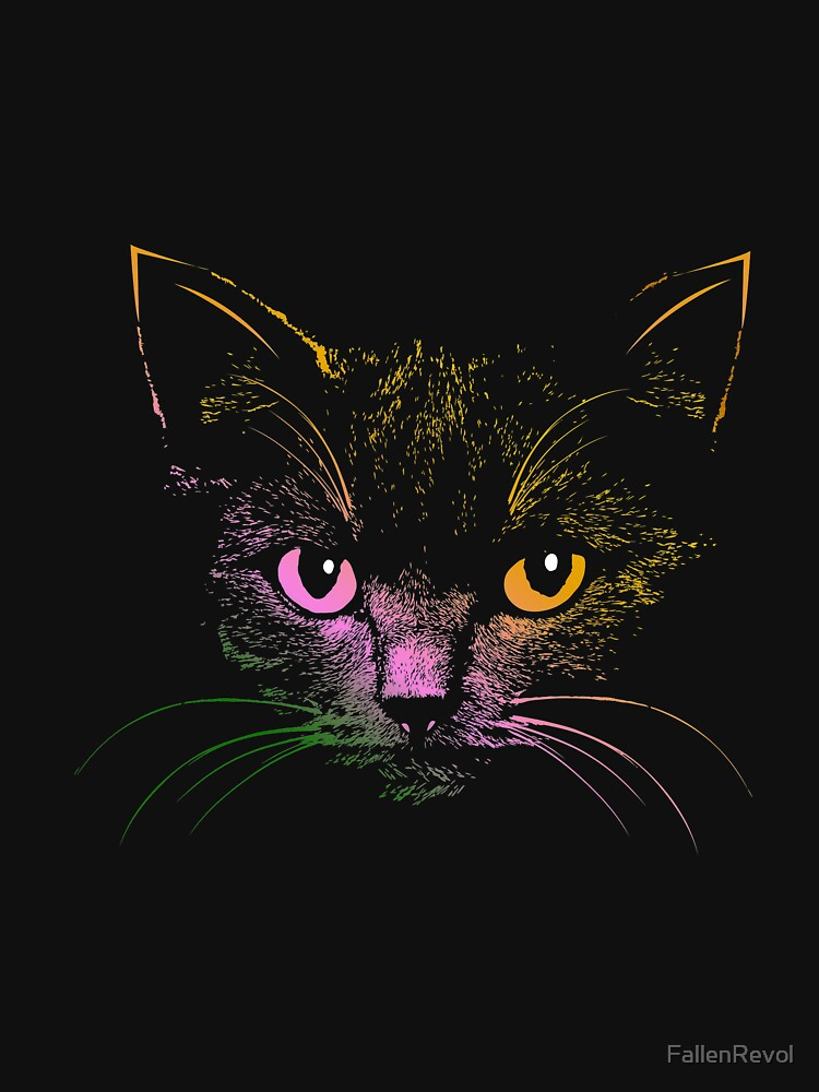 Colorful Beautiful Cat Face by FallenRevol