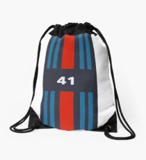 41: Racing Stripes Drawstring Bag