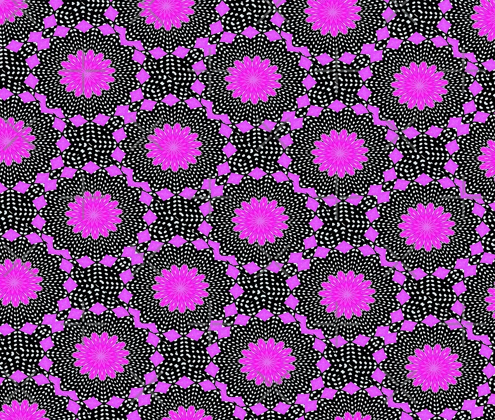 Pink Pattern Kaleidoscope with Black Dots by TeAnne