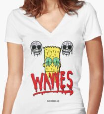 "WAVVES ""Drippy"" Design Women's Fitted V-Neck T-Shirt"