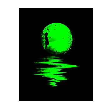 The Green moon with the shadow of a woman about to turn by 2jDUBCrastions1