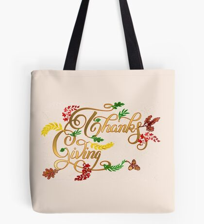 Thanks giving  & 3 leaves pattern ( 183 Views) Tote Bag