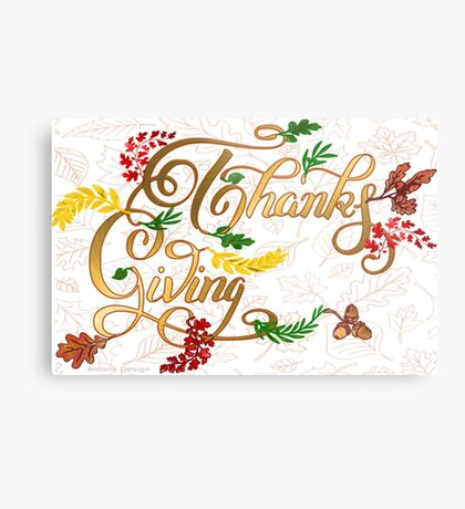 Thanks giving  & 3 leaves pattern ( 183 Views) Metal Print