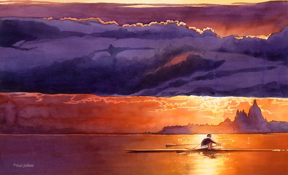 """Racing the Sun"" Venice Watercolor by Paul Jackson"
