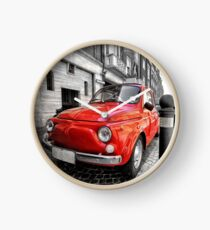Red car fiat 500 black white colorsplash in italy Clock