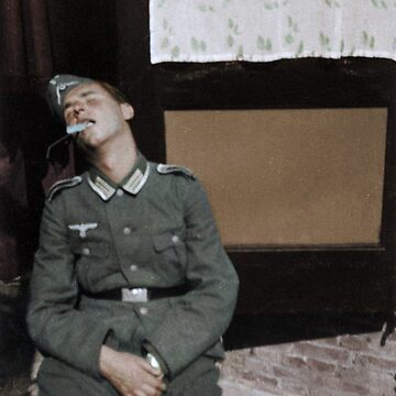 German NCO after falling asleep, Holland, September 1940 by cassowaryprods