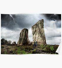 Standing Stones in a Futuristic Landscape Poster