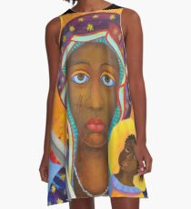 Black Madonna Poland artwork Polish Madonna print Virgin Mary painting Our Lady Religious painting A-Line Dress