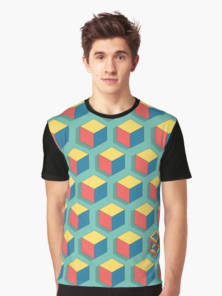 Isometric Cube Graphic T-Shirt Front